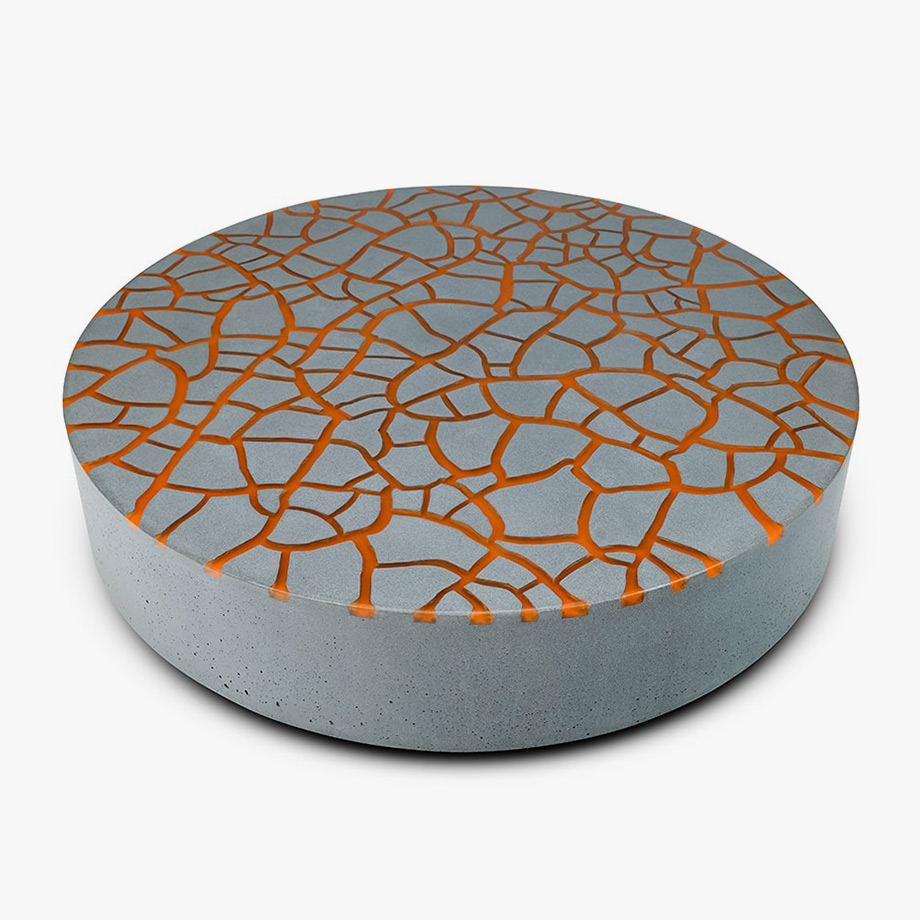 Suspense coffee table Grey concrete Green Finish Sculptural furniture by Kai Glenny Illusory