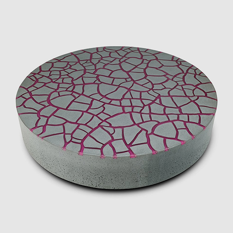 Suspense coffee table Grey concrete Purple Finish Sculptural furniture by Kai Glenny Illusory